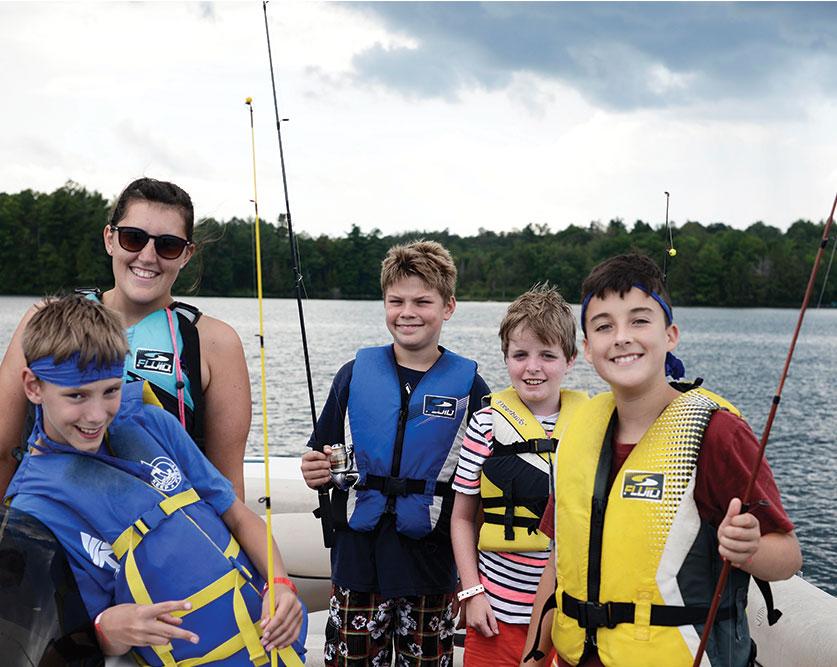 boys fishing in a boat
